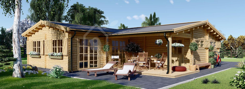 Chalet en bois BERTA (44+44 mm), 72 m² avec terrasse + 20 m² garage visualization 1