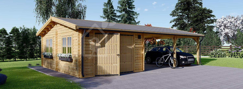 Garage en bois avec carport (44 mm), 4x6 m + 5.5x6 m (carport), 57 m² visualization 1
