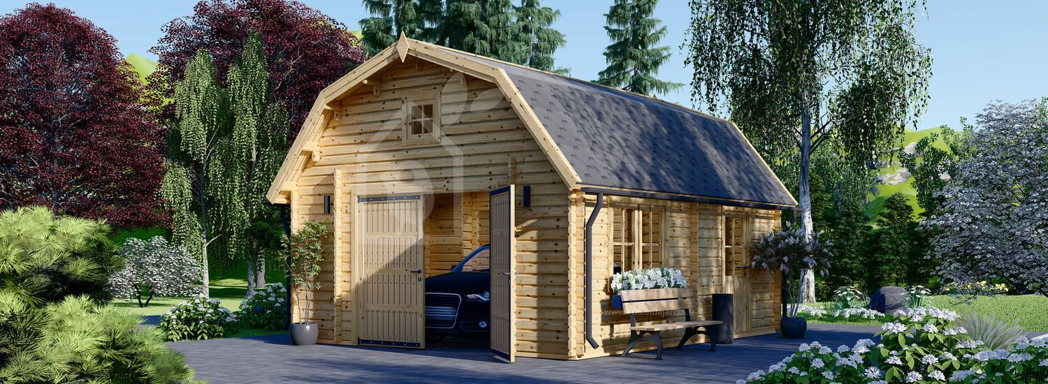Garage en bois MISSISSIPPI (44 mm), 5x6 m, 30 m² visualization 1