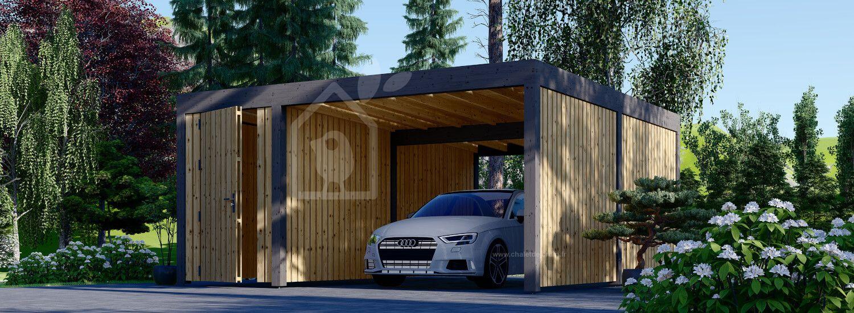 Carport en bois avec abri et mur latéral LUNA F PLUS, 4.9x5.6 m visualization 1