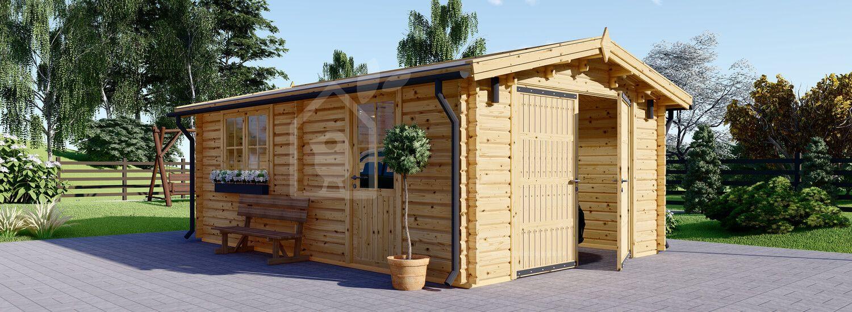Garage en bois (44 mm), 3.6x5.35 m, 19.9 m² visualization 1