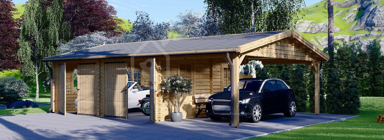 Garage en bois double avec carport (44 mm), 6x6 m + 3x6 m (carport), 54 m² visualization 1
