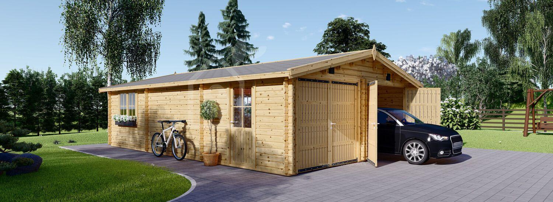 Garage en bois (44 mm), 6x9 m, 54 m² visualization 1