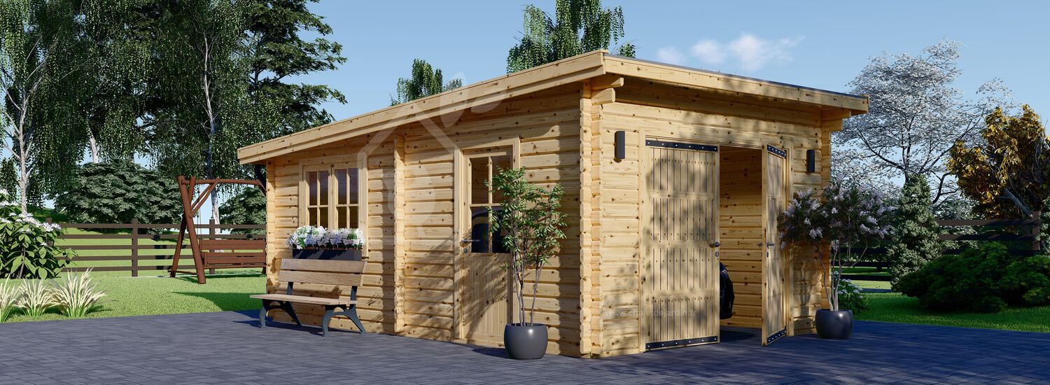 Garage en bois à toit plat MODERN (44 mm), 3.6x5.4 m, 19.9 m² visualization 1