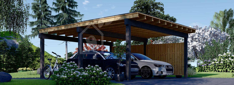 Carport en bois double LUNA DUO F, 6x6 m, avec mur latéral visualization 1
