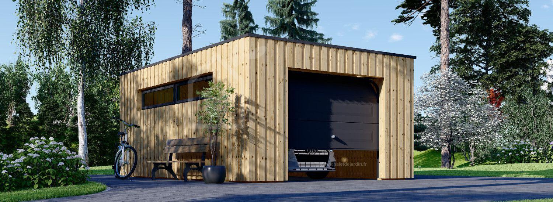 Garage bois toit plat STELA F (ossature en bois), 4x6 m, 24 m² visualization 1