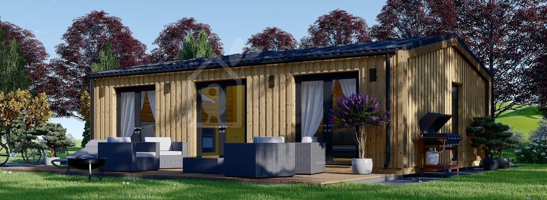 Chalet en bois habitable ANGELA (Isolé RT2012, 44 mm + bardage), 50 m² visualization 1