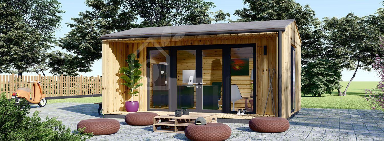Bureau de jardin TINA (Isolé, 44 mm + bardage), 5.5x4 m, 16.5 m² visualization 1