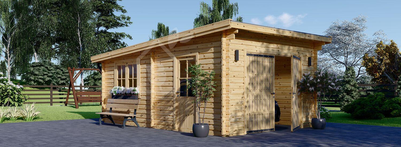 Garage en bois à toit plat MODERN (44 mm), 4x6 m, 24 m² visualization 1