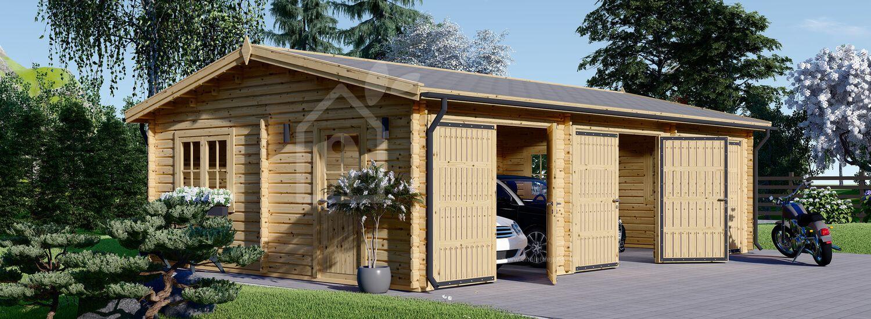 Garage en bois triple (44 mm), 9x6 m, 54 m² visualization 1