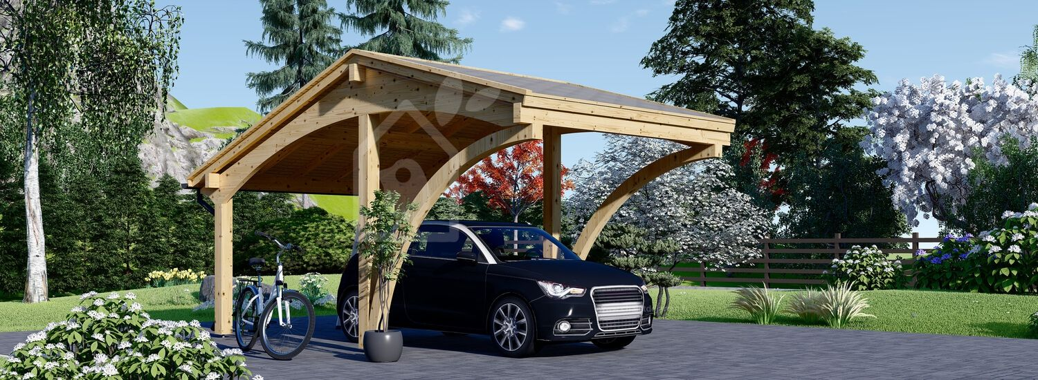 Carport en bois CORA, 3x5.9 m, 17.7 m² visualization 1