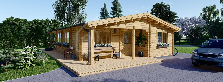 Chalet en bois LINDA (44+44 mm), 78 m² + 38 m² terrasse visualization 1