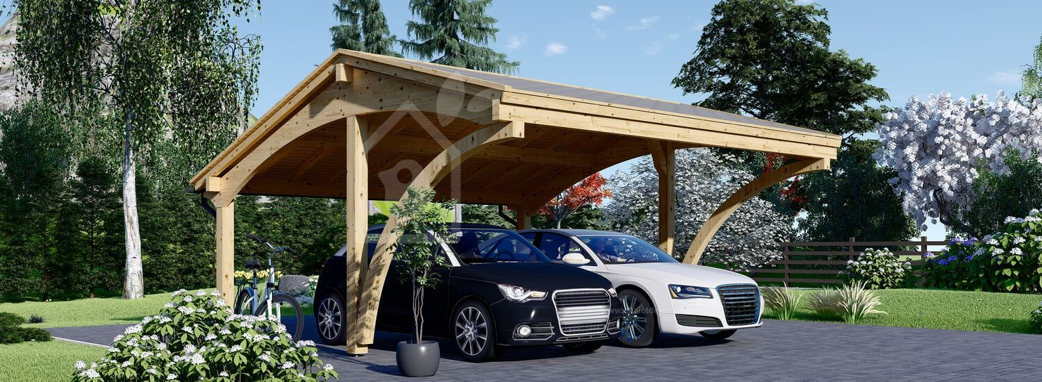 Carport en bois CORA DUO, 5.9x5.9 m, 34.8 m² visualization 1