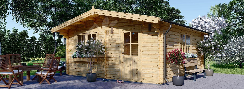 Abri de jardin en bois DREUX (Isolé RT2012, 44+44 mm), 6x6 m, 36 m² visualization 1