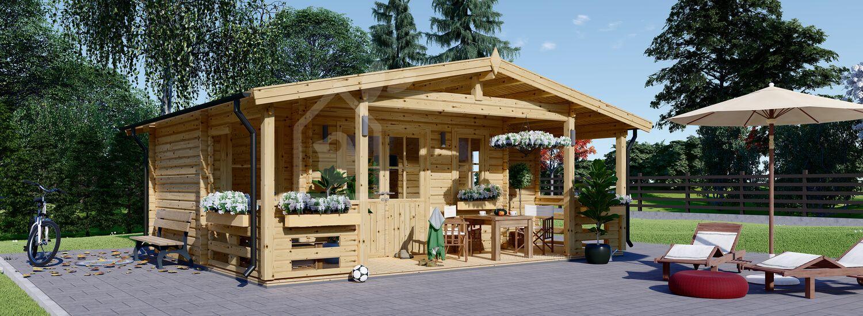Chalet en bois PARIS (44 mm), 21 m² + 11 m² terrasse visualization 1