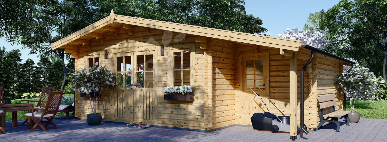 Abri de jardin en bois avec appenti CLARA (66 mm), 7x4 m, 28 m² visualization 1