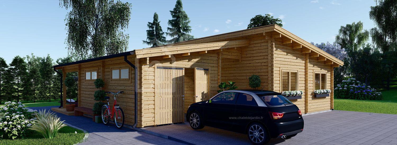 Chalet en bois habitable BERTA à toit plat (Isolé RT2012, 44+44 mm), 72 m² avec terrasse + 20 m² garage visualization 1