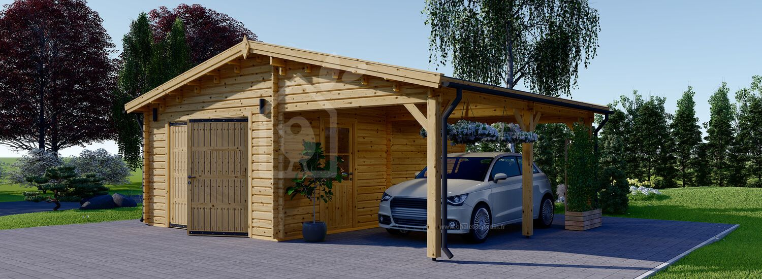 Garage en bois (44 mm), 4x6 m + carport 3x6 m, 40 m² visualization 1