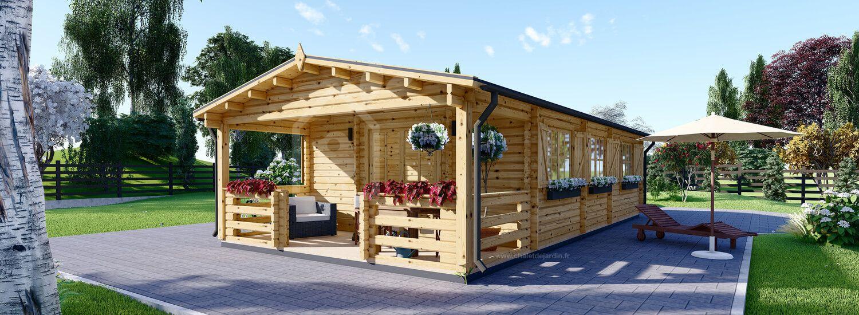 Chalet en bois habitable HYMER (Isolé RT2012, 44+44 mm), 42 m² + 10 m² terrasse visualization 1