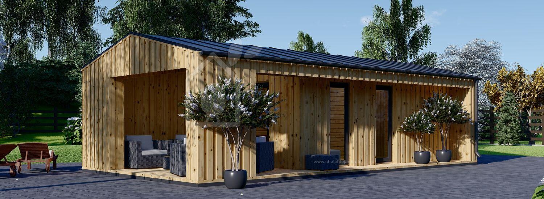 Abri de jardin en bois avec terrasse ANNA Scandinavia (44 mm + bardage), 20 m² + 16 m² visualization 1
