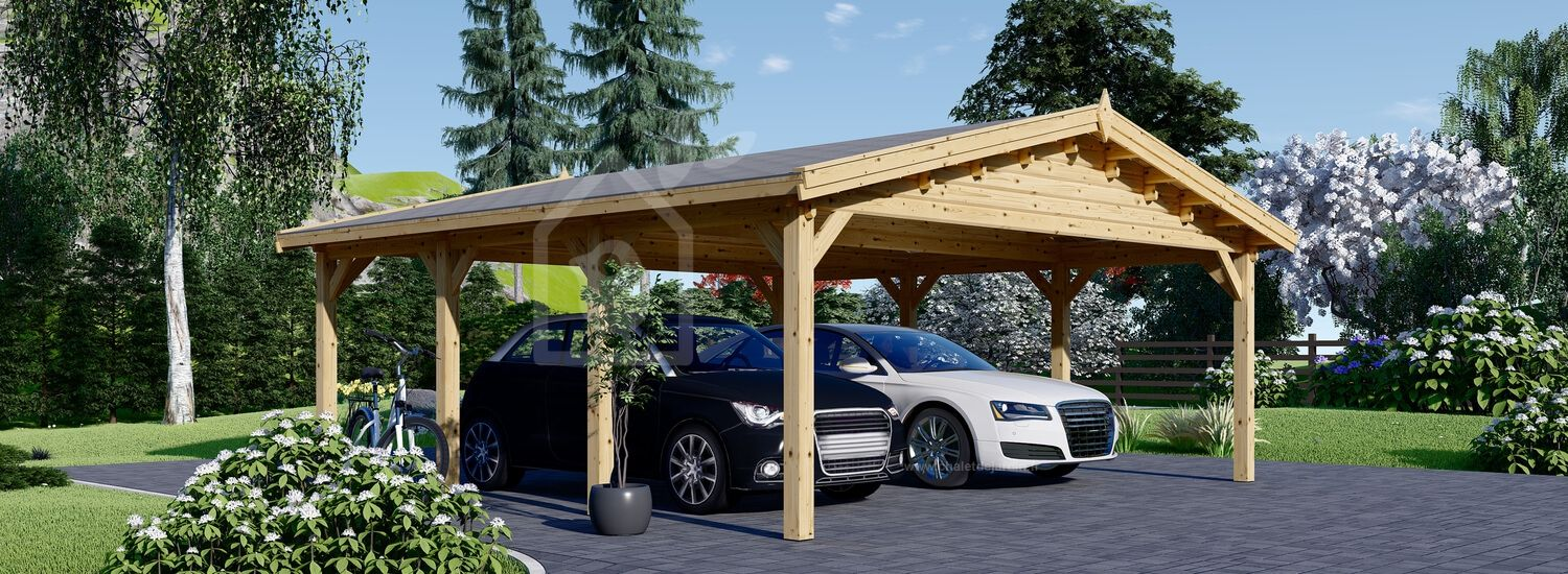 Carport en bois double CLASSIC, 6x6 m, 36 m² visualization 1