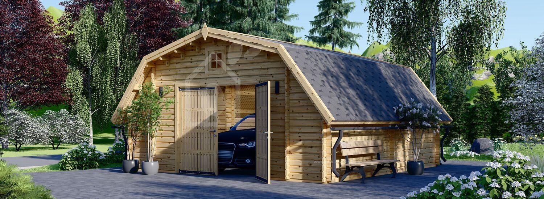 Garage en bois TEXAS (44 mm), 6x6 m, 36 m² visualization 1