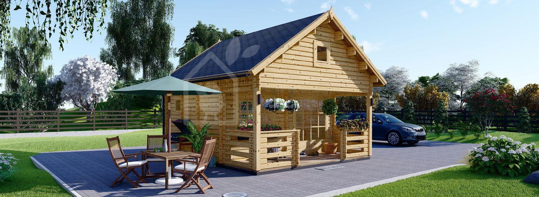 Chalet en bois à étage ALBI avec terasse (44 mm), 20 m² + 8m² visualization 1