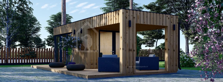 Bureau de jardin avec auvent PREMIUM (Isolé RT2012, SIPS), 5x3 m, 15 m² + 9 m² visualization 1