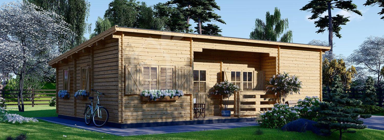Chalet en bois habitable à toit plat UZES (Isolé RT2012, 44+44 mm), 70 m² visualization 1