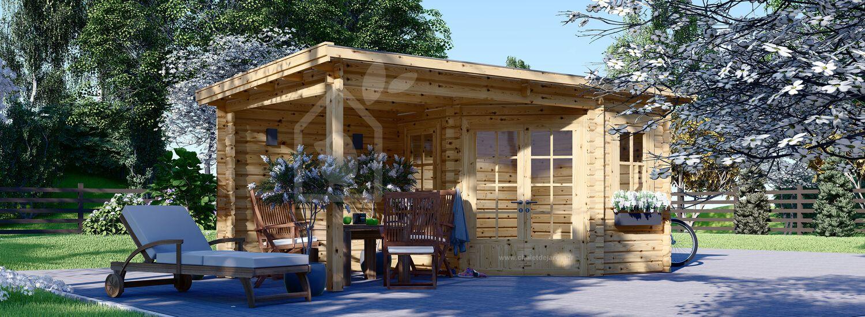 Abri de jardin en bois avec pergola KATERINA (28 mm), 5x3 m, 7.5 m² + 7.5 m² visualization 1