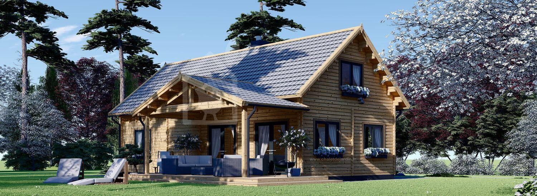 Chalet en bois VERA (44+44 mm), 132 m² + 13.5 m² terrasse visualization 1