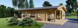 Chalet en bois LINDA (66 mm), 78 m² + 38 m² terrasse visualization 2