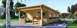 Chalet en bois à toit plat HYMER (66 mm), 42 m² + 10 m² terrasse visualization 1