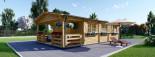 Chalet en bois HYMER (66 mm), 42 m² + 10 m² terrasse visualization 2