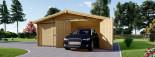 Garage en bois double (44 mm), 6x6 m, 36 m² visualization 4
