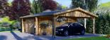 Garage en bois double (44 mm), 6x6 m + carport simple, 3x6 m, 54 m² visualization 8