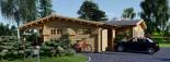 Chalet en bois BERTA (66 mm), 72 m² avec terrasse + 20 m² garage visualization 3