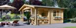 Chalet en bois PARIS (44 mm), 21 m² + 11 m² terrasse visualization 4