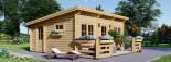 Chalet en bois à toit plat ALTURA (44+44 mm, RT2012), 31m² +  8 m² terrasse visualization 1