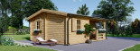 Chalet en bois NANTES (44+44 mm, RT2012), 24 m² + 3.5 m² terrasse visualization 4