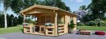 Abri de jardin SHANON (66 mm), 16 m² + 6 m² terrasse visualization 2