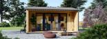 Bureau de jardin TINA (44 mm + bardage, RT2012), 4x4 m, 12 m² + 3.5 m² auvent visualization 2