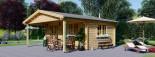 Abri de jardin CAMILA (44 mm), 6x4 m, 24 m² + 11 m² auvent visualization 1