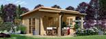 Abri de jardin HELEN (44 mm), 6x4 m, 24 m² + 12.5 m² terrasse visualization 1