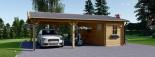 Carport en bois double avec abri, 6x7.5 m, 45 m² visualization 2