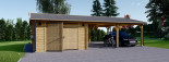 Garage en bois (44 mm), 4x6 m + carport double 5.5x6 m, 57 m² visualization 2