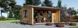 Bureau de jardin TINA (44 mm + bardage), 4x4 m, 12 m² + 3.5 m² auvent visualization 1
