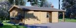 Garage en bois double (44 mm), 6x6 m + carport simple, 3x6 m, 54 m² visualization 4
