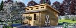 Garage en bois TWIN (44 mm), 4x6 m, 24 m² visualization 3