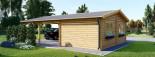 Garage en bois (44 mm), 4x6 m + carport double 5.5x6 m, 57 m² visualization 7